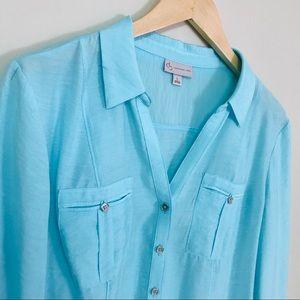 Dress Barn light blue button down blouse